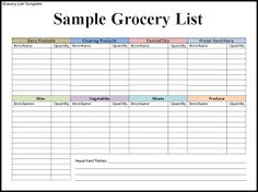 Blank Grocery List  Templates  OfficeCom  Organization