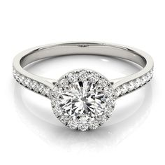 Transcendent Brilliance 14k Gold Classic Halo 3/4 TDW Diamond Engagement Ring (White - Size 6.75), Women's, Pink