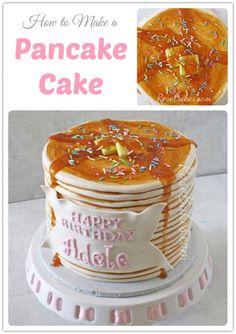 Marvelous Image of Birthday Cake Pancakes . Birthday Cake Pancakes How To Make A Pancake Cake Rose Bakes Pancake Party, Pancake Cake, Bunny Pancake, Crazy Cakes, Fancy Cakes, Fondant Cakes, Cupcake Cakes, Fondant Bow, Dog Cakes