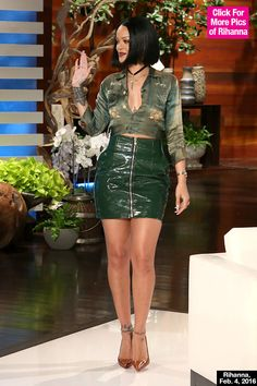 Rihanna headed to the 'ELLEN' show on Feb. 4, in a full green outfit and it is everything. We love how '90s and vintage she looks in this get-up! What do you guys think of RiRi's green ensemble, do you love it as much as we do?