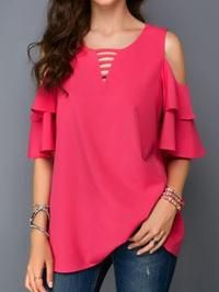 2019 new arrival blouses women's blouse - solid colored ruffle / patchwork / fashion v neck blusas mujer de moda roupa feminina gray xxxl / spring / summer Bell Sleeve Blouse, Maxi Dress With Sleeves, Chiffon Shirt, Chiffon Tops, Red Blouses, Blouses For Women, Off Shoulder Fashion, Top Wedding Dresses, Casual Skirt Outfits