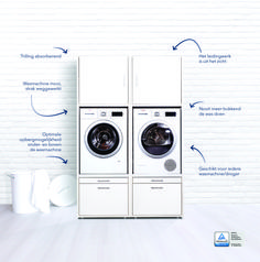 Waschküche Washing machine cabinet with pull-out board (double) - Waschturm. Garage Laundry Rooms, Laundry Room Layouts, Small Laundry Rooms, Laundry Room Storage, Laundry Room Design, Laundry In Bathroom, Small Washing Machine, Utility Room Designs, Laundry Equipment