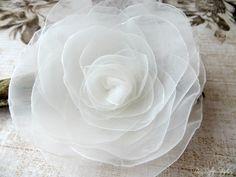 Wedding Hair Flower Ivory Organza Flower by AnnaDelphiaBridal