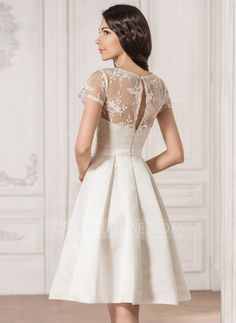 A-Line/Princess Scoop Neck Knee-Length Bow(s) Zipper Up Covered Button Sleeves Short Sleeves Beach Hall Reception General Plus No Spring Summer Fall Ivory Satin Lace Wedding Dress