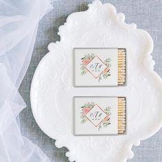 Beautiful matches customized with your monogram or name! Wedding Favors, Decorative Plates, Monogram, Joy, Creative, Frame, Beautiful, Home Decor, Wedding Keepsakes