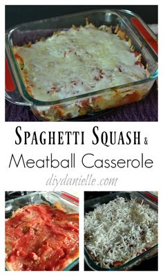 How to make spaghetti squash and meatball casserole. A simple dish cooked mostly in the crockpot.
