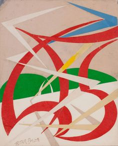 Giacomo Balla - Linea di velocità  e paesaggio, ca. 1915, watercolor, pencil, and collage on card