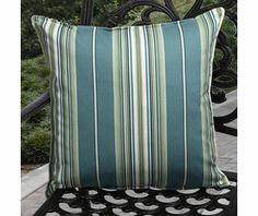 """Richloom 20"""" Outdoor Throw Pillows in Peacock Blue/Green/Teal/White Stripe (Set of 2)"""