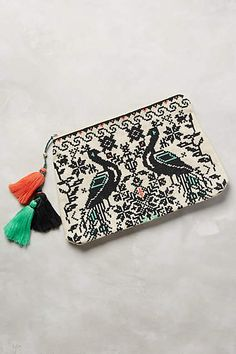 Embroidered Peacocks Pouch #anthrofave
