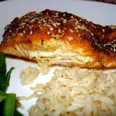 Sara's Soy Marinated and Cream Cheese-Stuffed Salmon Allrecipes.com One of my all-time favorite recipes for salmon!!! Goes great with jasmine rice and grilled asparagus :~D