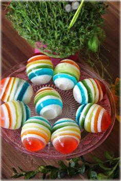 Colorful eggs with jelly and natural yoghurt - kolorowe jajeczka przygotowane z galaretek i jogurtu naturalnego 😀