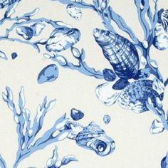 Scalamandre SEAGRASS SHELLS China Blue On Cream Wallpaper