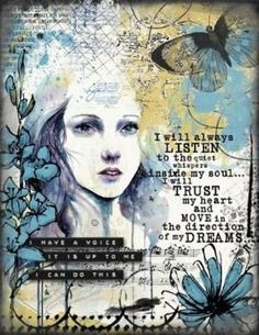 Art Journaling - Voice Within - Scrap Art Studio Gallery by Divonsir Borges #mixedmediaart #mixed #media #art #decoupage