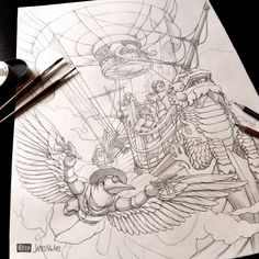 Work in progress steampunk airship cover art sketch from @jamesngart #Airship #Steampunk #Sketch
