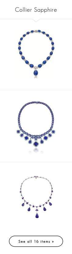 """""""Collier Sapphire"""" by artemisa-538 ❤ liked on Polyvore featuring necklaces, jewelry, 14 karat gold necklace, le vian, le vian necklace, blue flower necklace, blue necklace, gemstone jewelry, gem necklace and fringe necklace"""