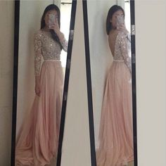 Sparkle Exquisite Pink Prom Dresses,Long Sleeves Beadings & Crystal Chiffon Prom Dress