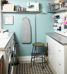 Love the peg board, small ironing board, and shelf for sewing machine. With the size of my new laundry room I could so do this, just need to get a stool and make two shelves (using the washer and dryer and putting a board over them. Kind of like the other laundry picture I have).