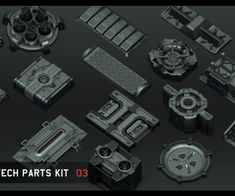 Universal Hi-tech parts kit - part 3 by Alexey Pyatov Sketchup Model, Game Assets, Your Location, Iron Fist, Quad, Sci Fi, Tech, Kit, Quad Bike