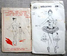 Vintage Ballet Sewing Patterns - Traditional Tutu and Leotard. 2 x Ballet Dance Costume Collectibles. Ballet Tutu, Ballet Dance, Ballerina, Ballet Costumes, Dance Costumes, Tutu Pattern, Vintage Ballet, Ballet Clothes, Sewing Basics