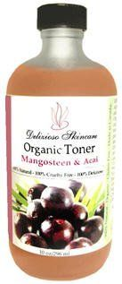 100% Natural Mangosteen & Acai Luxurious Toner by Delizioso Skincare. $42.99. - Moisturizing. - 80% Certified Organic Ingredients. - PURE antioxidants. - 100% Natural. - Anti Aging. 100% Natural Mangosteen & Acai extracts along with Alpha Hydroxy Acids use a potent delivery system of antioxidants to quench and perfect thirst and dull skin. Organic oils nourish, while aloe and pure juices of cucumber and blueberry rehydrate. This 100% natural toner is an instant drink for thir...