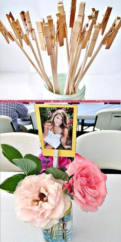 Glue photos to stock paper and sticks and insert into a Rustic Graduation Party centerpiece. Easy DIY Graduation Party Decoration Ideas using Pictures. party decorations 8 Of The Best Picture Display Ideas For Your Grad Party - Twins Dish Grad Party Decorations, Graduation Party Centerpieces, Graduation Party Planning, College Graduation Parties, Graduation Party Decor, Grad Parties, Graduation Ideas, Graduation Gifts, Diy Party Centerpieces