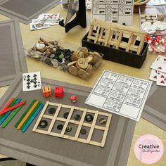 math loose parts center for kindergarten classroom.