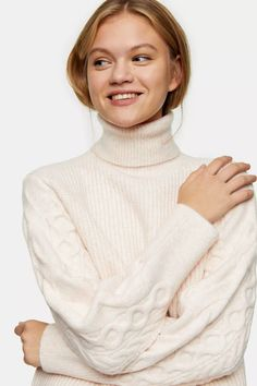 Carousel Image 0 Roll Neck Jumpers, Roll Neck Sweater, Nylons, Style Magazin, Jumper Outfit, Topshop, Fashion Capsule, Color Splash, Cable Knit