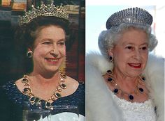 Detail of the difference between the 1983 version and the 2005 version (the necklace was shortened and the remaining parts were converted into earrings)