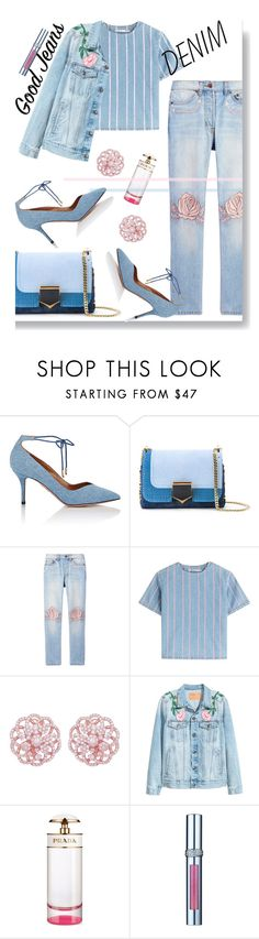 """""""GOOD JEANS"""" by iraavalon ❤ liked on Polyvore featuring Aquazzura, Jimmy Choo, Bliss and Mischief, T By Alexander Wang, Emilio!, Prada and La Prairie"""