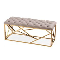 Grey Velvet Long Bench Gold Geometric Base