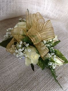 White Spray Roses with a gold ribbon Homecoming Flowers, Prom, White Spray Roses, Flower Cart, Gold Ribbons, Boutonnieres, Corsage, Table Decorations, Design