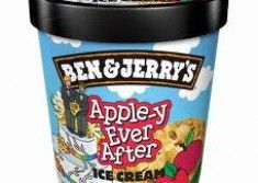 Ben & Jerry's change name of apple pie ice-cream to 'Apple-y Ever After' in support of gay marriage - but only in scoop form.  That means this cute tub won't be in the shops.