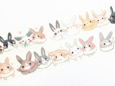 Fluffy bunny washi tape T00298 by Meowashitape on Etsy