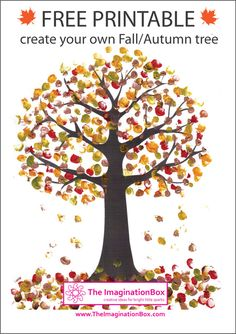 Print this free Tree Template from The ImaginationBox to create your own beautiful Fall/Autumn tree art using fingerprinting or buttons