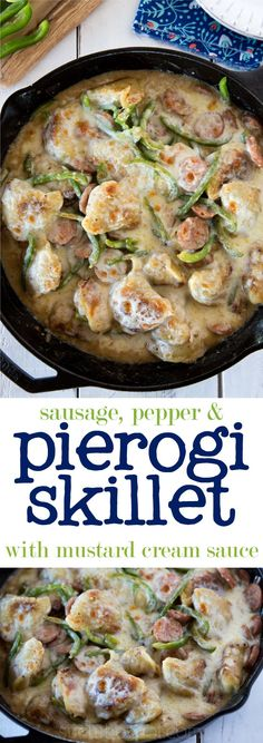 Sausage, pepper & pierogi skillet | Easy one-dish meal for busy weeknights