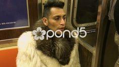 Man Sitting on Train In Fur Coat, NY Subway - Stock Footage | by OsiriStar