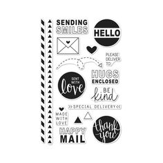 Happy Mail is a collection of Clear Design Stamps, perfect for creating cards and crafts. Our Clear Design Stamps peel off their backing and stick to acrylic blocks for easy positioning. Mix and ma…