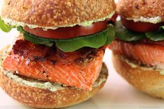 Sockeye Salmon Sliders with Bacon, Watercress, Heirloom Tomato and Pesto Mayo