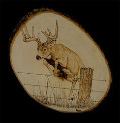Deer Pyrography - Up And Over by Mike Padgett Wood Burning Tips, Wood Burning Crafts, Pyrography Patterns, Wood Carving Patterns, Deer Stencil, Wood Burning Stencils, Deer Art, Picture On Wood, Wood Sculpture