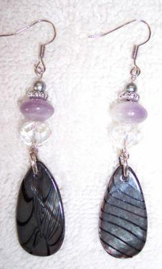 Handmade Purple Stone Glass Beads Earrings Hippie Boho Long Dangle UPCYCLED Eco!