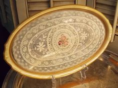 Vintage OVAL DRESSER TRAY Beautifully by VintageCreativeAccen