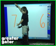 Great Gator with the white board! Lots of great ideas and resources for teaching greater than/less than! A Kindergarten Smorgasboard Of Comparing Numbers Kindergarten Smorgasboard, Kindergarten Math, Preschool Math, Math Classroom, Maths, Montessori Math, Math Lesson Plans, Math Lessons, Math Resources