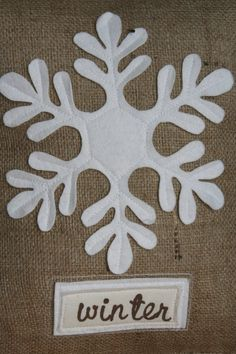 Rustic Burlap Snowflake Pillow Sham by ShabbyByMelissa on Etsy