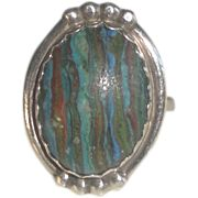 Sterling Silver Ring with Multicolor Striped Oval Stone