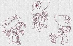 Sunbonnet Sue Garden Redwork Machine Embroidery Designs Set 1