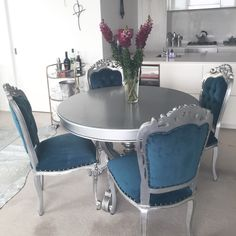 Franciscan Dining Chairs and French Provincial Dining Round Table. Antique Silver Finish and Turquoise Fabric Upholstery Dining Chairs, Dining Table, Teal Fabric, French Provincial, Upholstery, Antiques, Antique Silver, Inspiration, Peacock