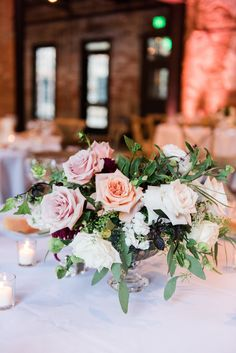 Mt Washington Mill Dye House Wedding Baltimore Wedding Planner East Made Event Company  Lush low centerpiece in glass compote with blush roses by Mobtown Florals  Photo by Lauren C Photography