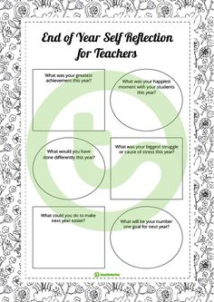Teaching Resource: A self reflection worksheet for teachers to use at the end of the school year.