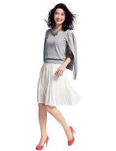 gray knit & white skirt