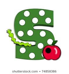 "S, in the alphabet set ""Apple for Teacher"", is covered in large white polka dots. A bright green worm and a red apple decorate the letter. Letter is green. P Alphabet, Egg Decorating, Red Apple, Bright Green, Lettering Design, Large White, Deep Blue, Easter Eggs, Royalty Free Stock Photos"